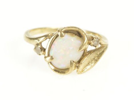 10K Oval Retro Syn. Opal CZ Accent Leaf Yellow Gold Ring, Size 3.5