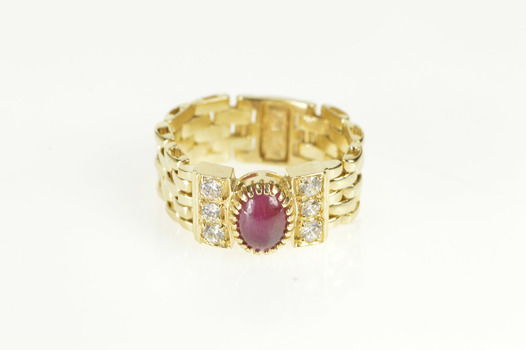 10K Oval Ruby Diamond Accent Panther Chain Yellow Gold Ring, Size 6.25