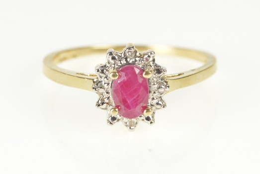 10K Oval Ruby Diamond Halo Engagement Yellow Gold Ring, Size 7