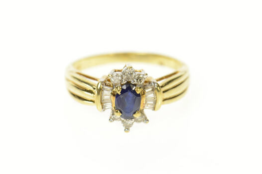 10K Oval Sapphire Baguette Diamond Halo Yellow Gold Ring, Size 7