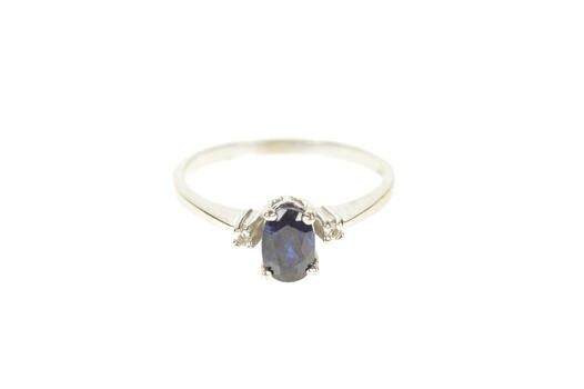 10K Oval Sapphire Diamond Accent Engagement White Gold Ring, Size 5.25