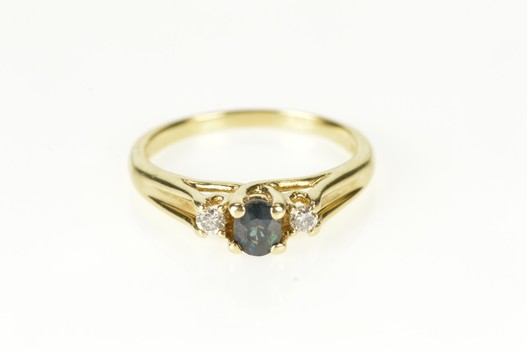 10K Oval Sapphire Diamond Accent Engagement Yellow Gold Ring, Size 8