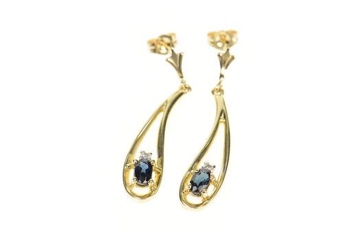10K Oval Sapphire Diamond Tear Drop Dangle Yellow Gold Earrings