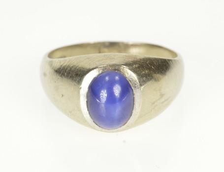10K Oval Sim. Blue Star Sapphire Retro Men's White Gold Ring, Size 10.75