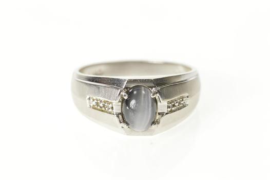 10K Oval Sim. Grey Cat's Eye Diamond Accent White Gold Ring, Size 10.25
