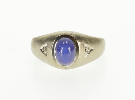 10K Oval Star Sapphire Diamond Accent Textured White Gold Ring, Size 8.5