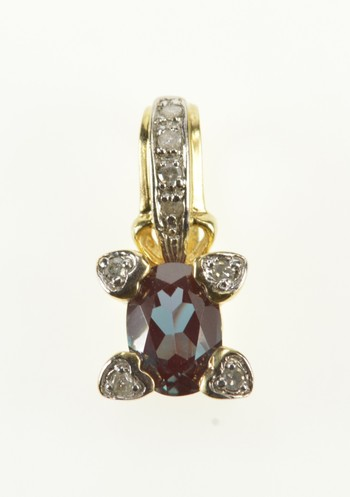 10K Oval Syn. Alexandrite Diamond Accent Yellow Gold Pendant