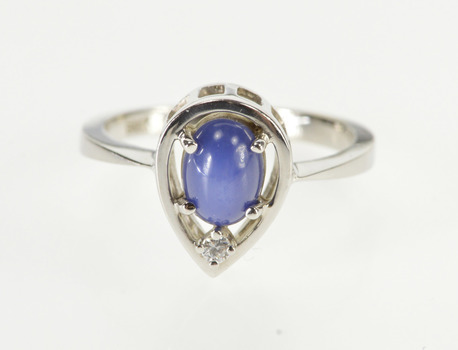 10K Oval Syn. Blue Star Sapphire Diamond Teardrop White Gold Ring, Size 5.75