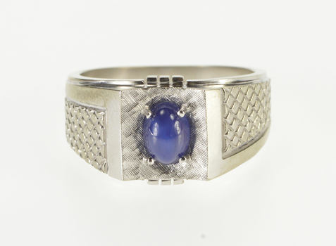 10K Oval. Syn. Blue Star Sapphire Patterned Men's White Gold Ring, Size 9.75