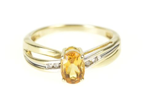 10K Oval Syn. Citrine Diamond Inset Bypass Yellow Gold Ring, Size 6.5