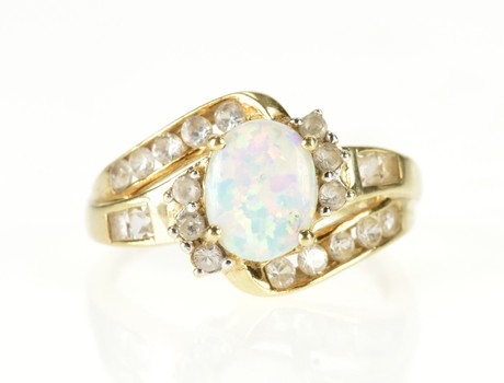 10K Oval Syn. Opal CZ Halo Bypass Statement Yellow Gold Ring, Size 8