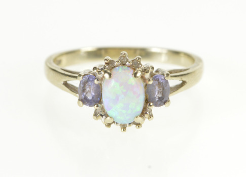 10K Oval Syn Opal Diamond Tanzanite Accent Yellow Gold Ring, Size 6.25