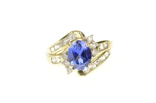 10K Oval Syn. Sapphire CZ Bypass Statement Yellow Gold Ring, Size 7