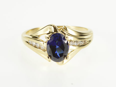 10K Oval Syn. Sapphire Diamond Channel Freeform Yellow Gold Ring, Size 7