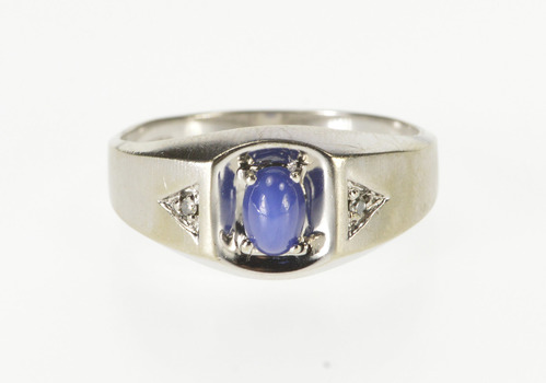 10K Oval Syn. Star Sapphire Diamond Accent Men's White Gold Ring, Size 10.25