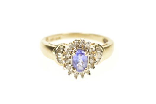 10K Oval Tanzanite Diamond Halo Engagement Yellow Gold Ring, Size 7