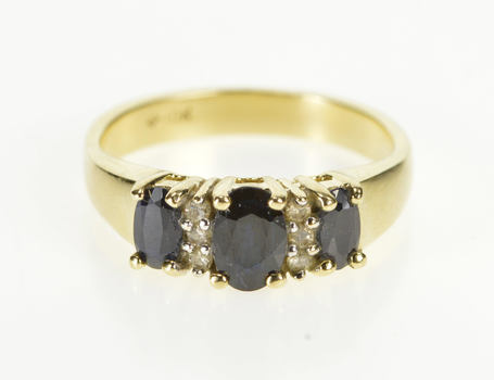 10K Oval Three Stone Sapphire Diamond Engagement Yellow Gold Ring, Size 5.75