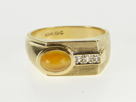 10K Oval Tiger's Eye Cabochon Cubic Zirconia Yellow Gold Ring, Size 9.25