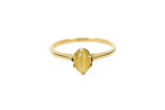 10K Oval Tiger's Eye Cabochon Retro Statement Yellow Gold Ring, Size 6.25