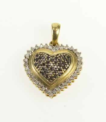 10K Pave Black & White Diamond Heart Halo Yellow Gold Pendant