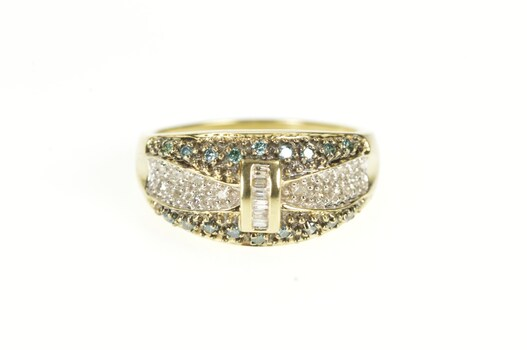 10K Pave Blue & White Diamond Statement Band Yellow Gold Ring, Size 8