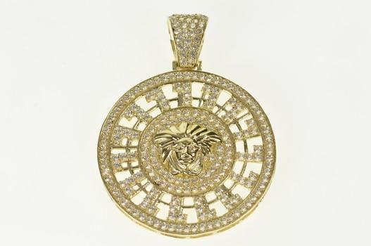 10K Pave Cubic Zirconia Medusa Medallion Yellow Gold Pendant