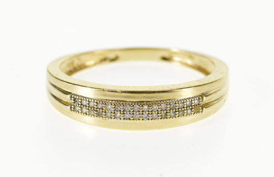 10K Pave Diamond Channel Inset Men's Wedding Band Yellow Gold Ring, Size 10