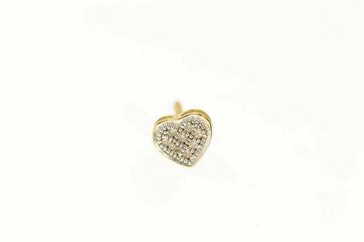 10K Pave Diamond Heart Love Symbol Stud Single Yellow Gold Earring
