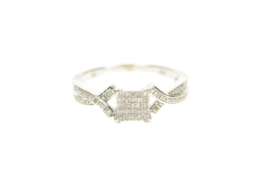 10K Pave Diamond Inset Squared Promise White Gold Ring, Size 7.25