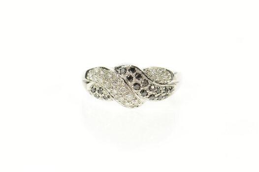 10K Pave White & Black Diamond Twist Statement White Gold Ring, Size 10