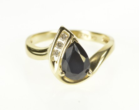 10K Pear Black Onyx Diamond Accent Bypass Yellow Gold Ring, Size 7