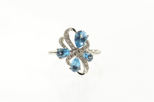 10K Pear Blue Topaz Diamond Wavy Statement Yellow Gold Ring, Size 9