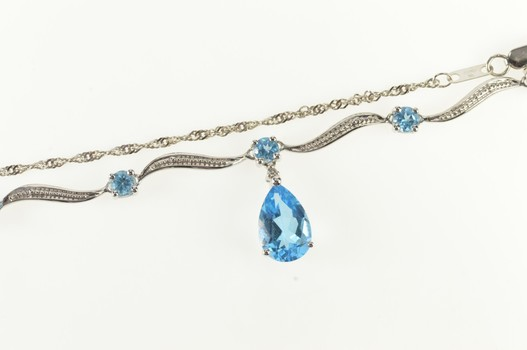 """10K Pear Blue Topaz Wave Statement Chain White Gold Necklace 14.75"""""""