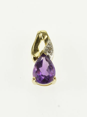 10K Pear Cut Amethyst Diamond Accented Wavy Yellow Gold Pendant