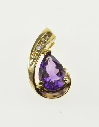 10K Pear Cut Amethyst Diamond Channel Inset Wavy Yellow Gold Pendant