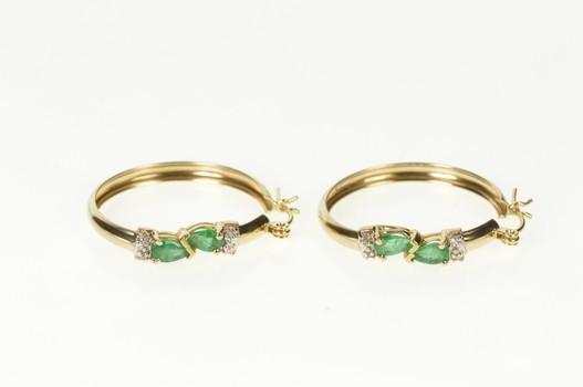 10K Pear Emerald Diamond Accent Statement Hoop Yellow Gold Earrings