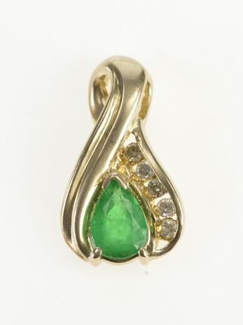 10K Pear Emerald Diamond Accent Tear Drop Yellow Gold Pendant