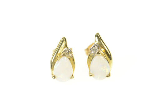 10K Pear Natural Opal Diamond Accent Stud Yellow Gold Earrings