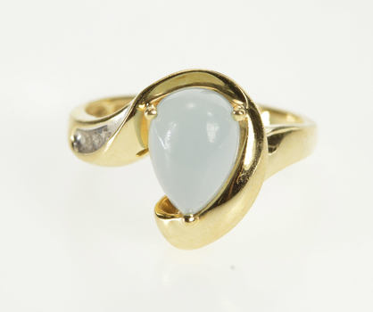 10K Pear Pale Blue Chalcedony Diamond Freeform Yellow Gold Ring, Size 7