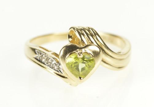 10K Pear Peridot Heart Diamond Accent Wavy Yellow Gold Ring, Size 6.5