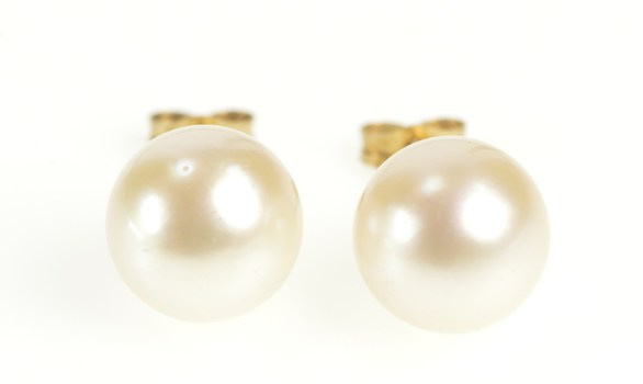 10K Pearl Classic Simple Statement Stud Yellow Gold Earrings