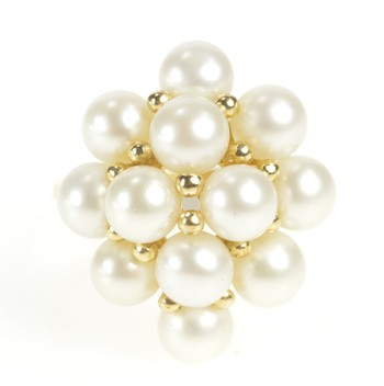 10K Pearl Cluster Statement Fancy Cocktail Yellow Gold Ring, Size 6.75