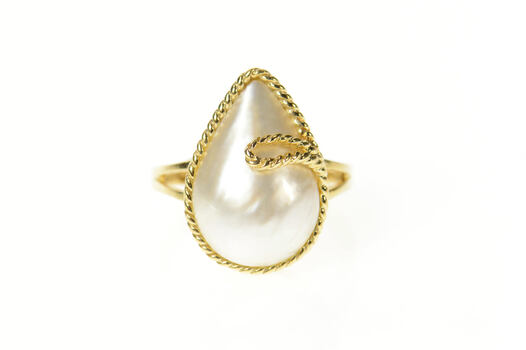 10K Pearl Ornate Rope Trim Statement Cocktail Yellow Gold Ring, Size 6