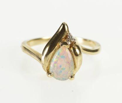 10K Pearl Syn. Opal Diamond Accent Wavy Fashion Yellow Gold Ring, Size 6.75