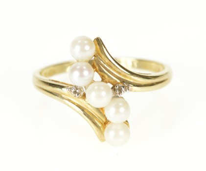 10K Pearl Wave Diamond Accent Bypass Statement Yellow Gold Ring, Size 7.25