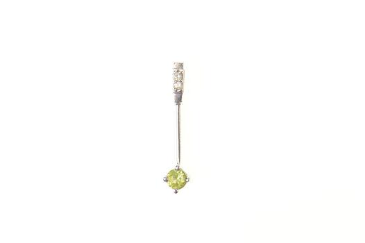 10K Peridot Diamond Accent Bar Statement White Gold Pendant