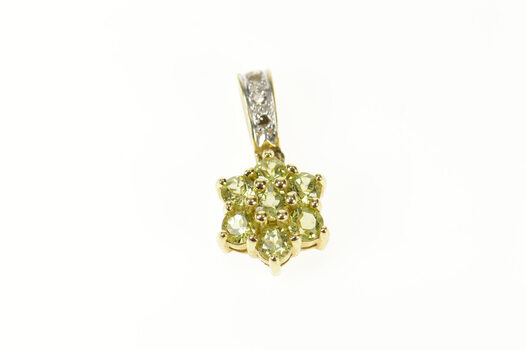 10K Peridot Flower Floral Cluster Diamond Accent Yellow Gold Pendant