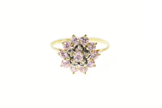 10K Pink Cubic Zirconia Diamond Halo Cocktail Yellow Gold Ring, Size 6.25