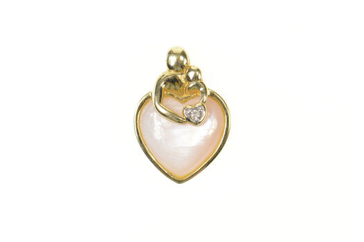 10K Pink Mother of Pearl Heart Mother's Day Yellow Gold Pendant