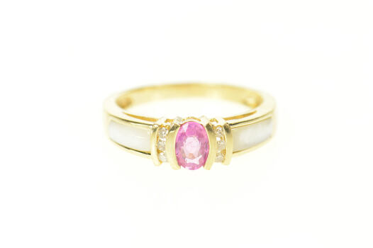 10K Pink Sapphire Diamond Mother of Pearl Yellow Gold Ring, Size 7.25